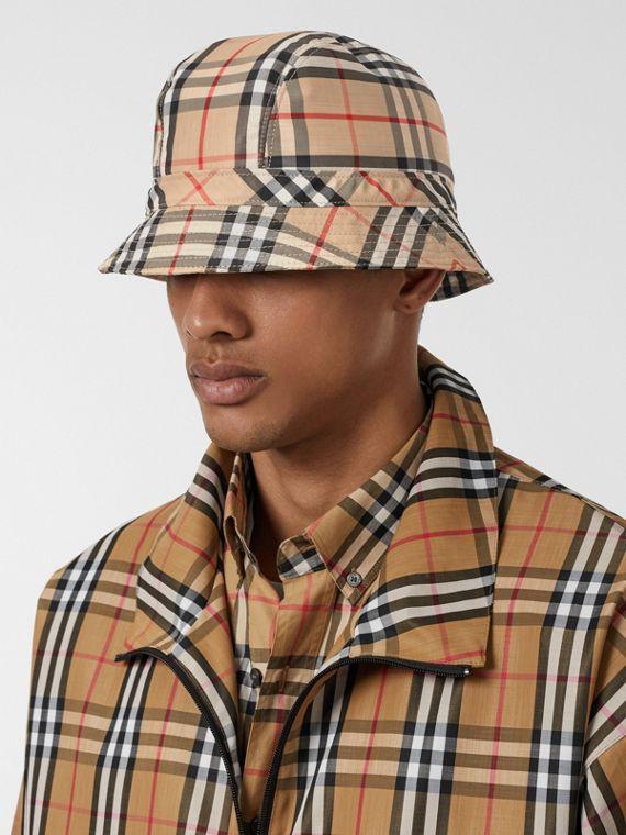 Vintage Check Bucket Hat in Archive Beige