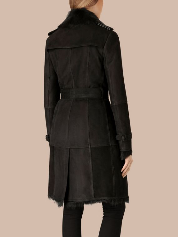 Shearling Trench Coat in Black - Women | Burberry - cell image 2