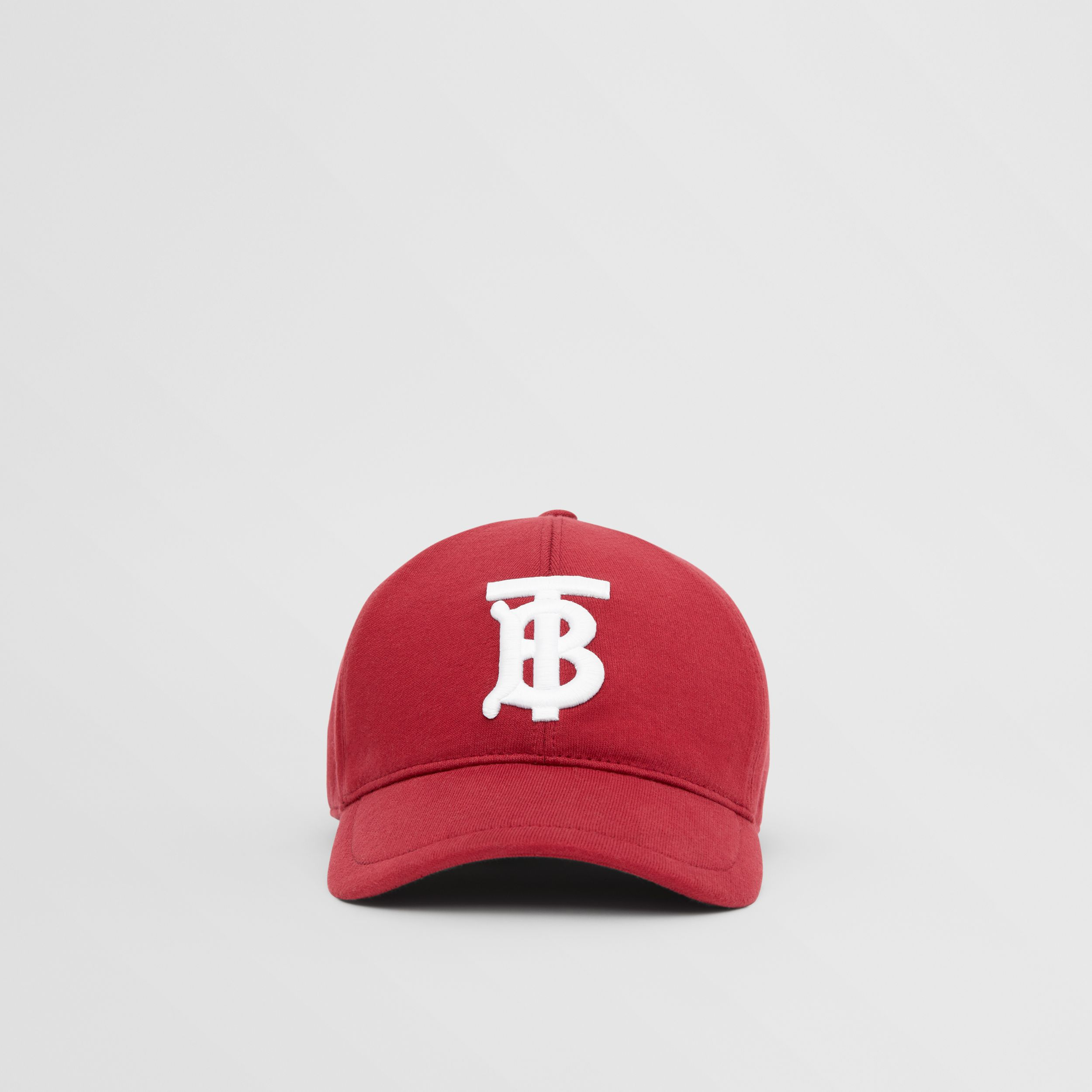 Monogram Motif Jersey Baseball Cap in Dark Carmine | Burberry - 1