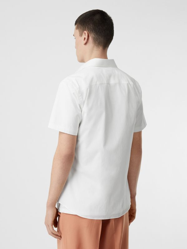 Monogram Motif Stretch Cotton Poplin Shirt in White - Men | Burberry Australia - cell image 2