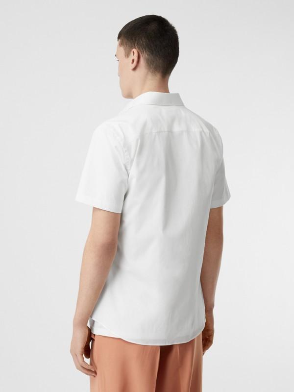 Monogram Motif Stretch Cotton Poplin Shirt in White - Men | Burberry - cell image 2