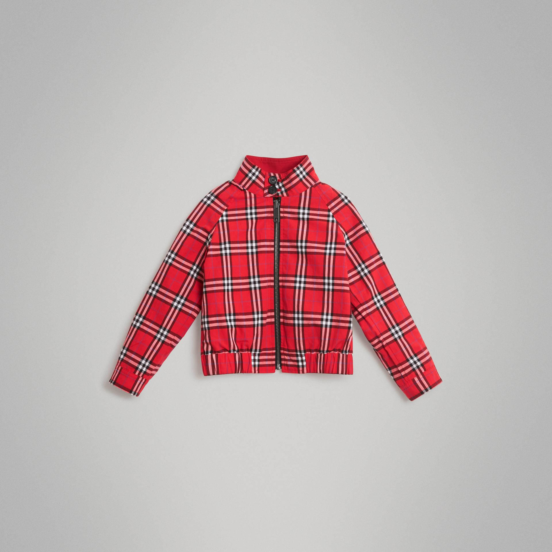 Reversible Check Cotton Harrington Jacket in Bright Red | Burberry United Kingdom - gallery image 5