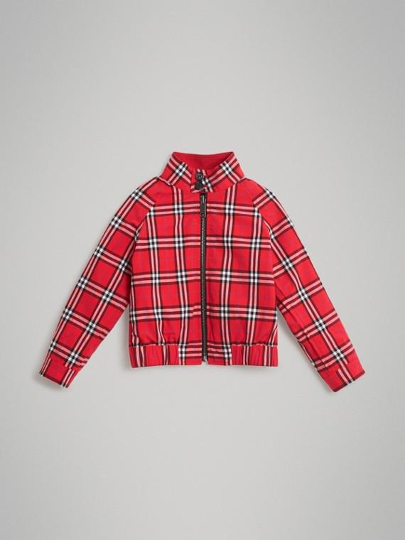 Wendbare Harrington-Jacke aus Baumwolle mit Karomuster (Leuchtendes Rot)