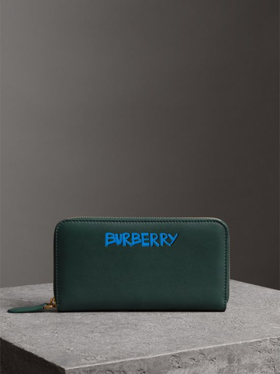 Graffiti Print Leather Ziparound Wallet in Deep Bottle Green
