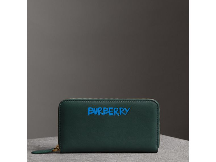 Graffiti Print Leather Ziparound Wallet in Deep Bottle Green - Men | Burberry - cell image 4