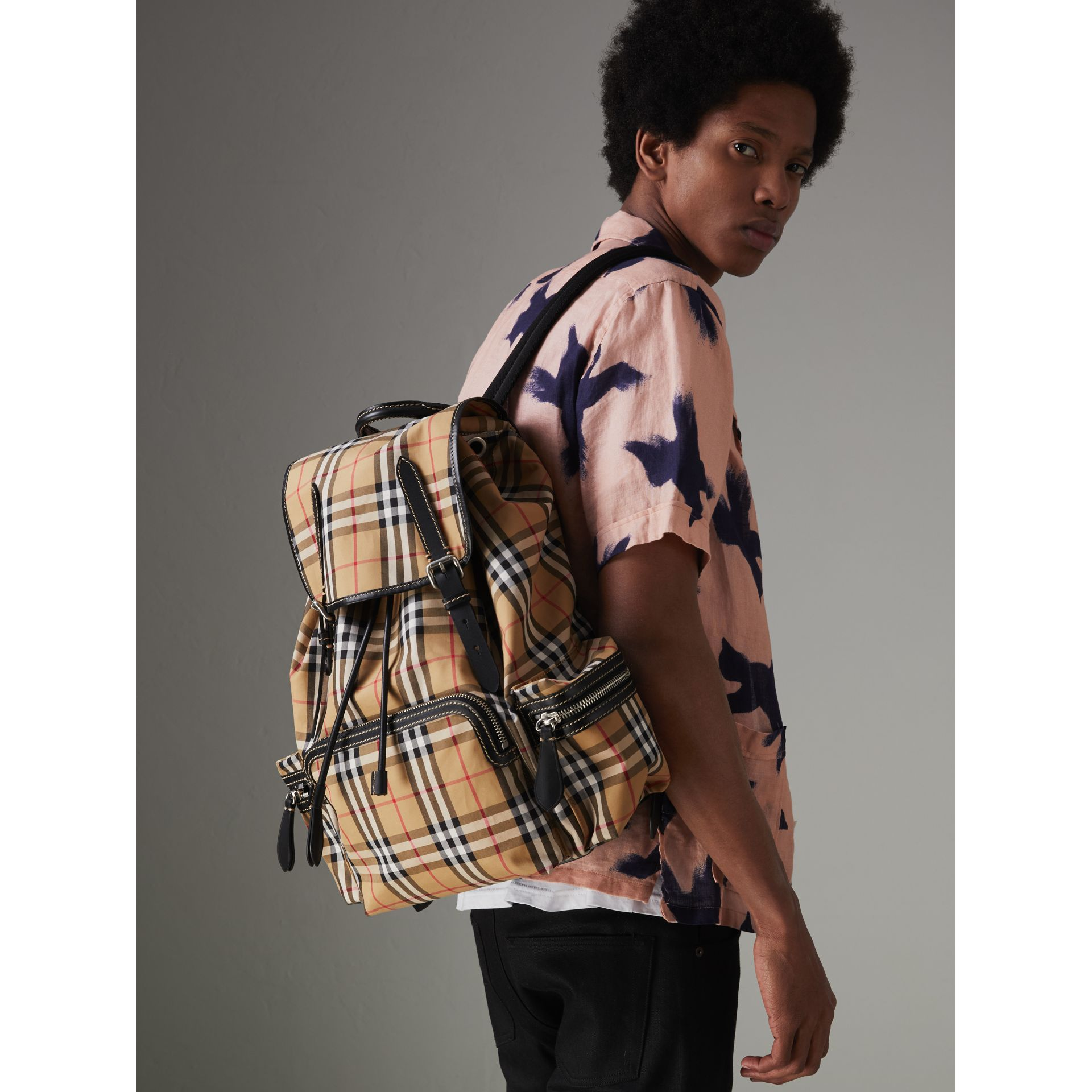 The Large Rucksack in Vintage Check in Antique Yellow | Burberry - gallery image 6