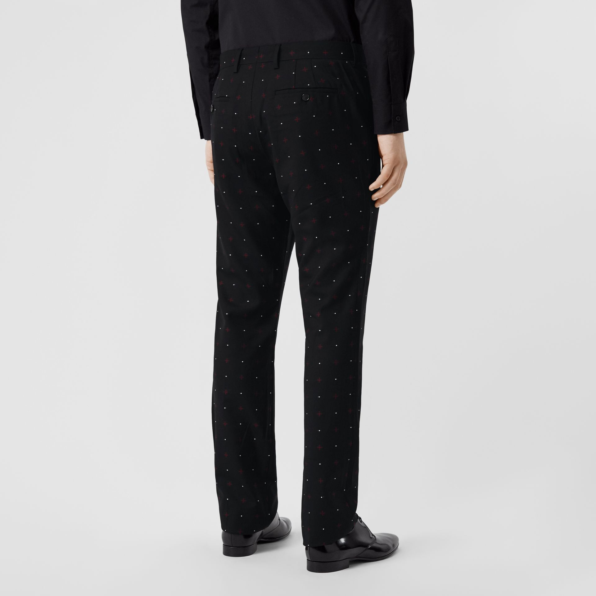 Classic Fit Fil Coupé Wool Cotton Tailored Trousers in Black - Men | Burberry - gallery image 2