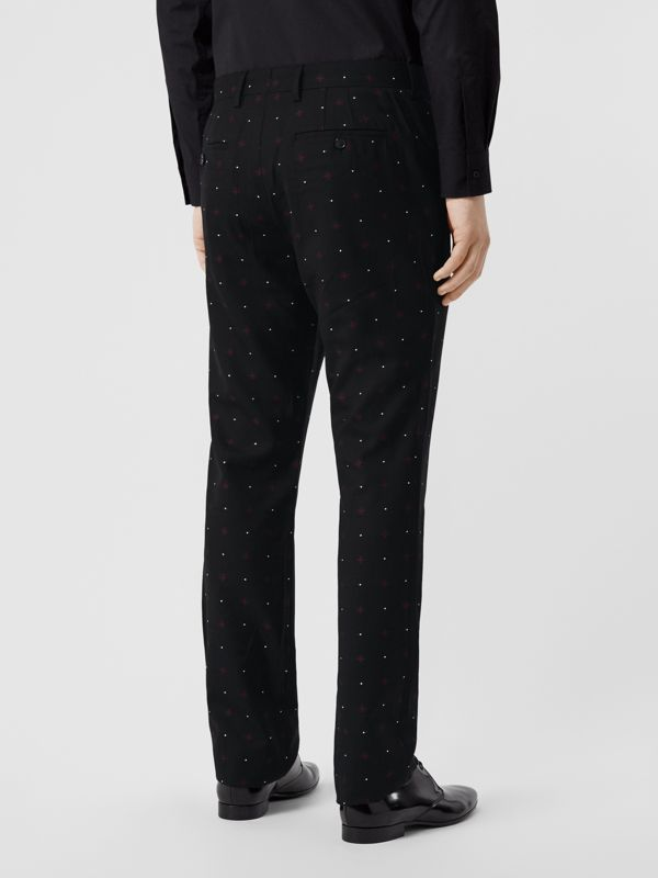 Classic Fit Fil Coupé Wool Cotton Tailored Trousers in Black - Men | Burberry - cell image 2
