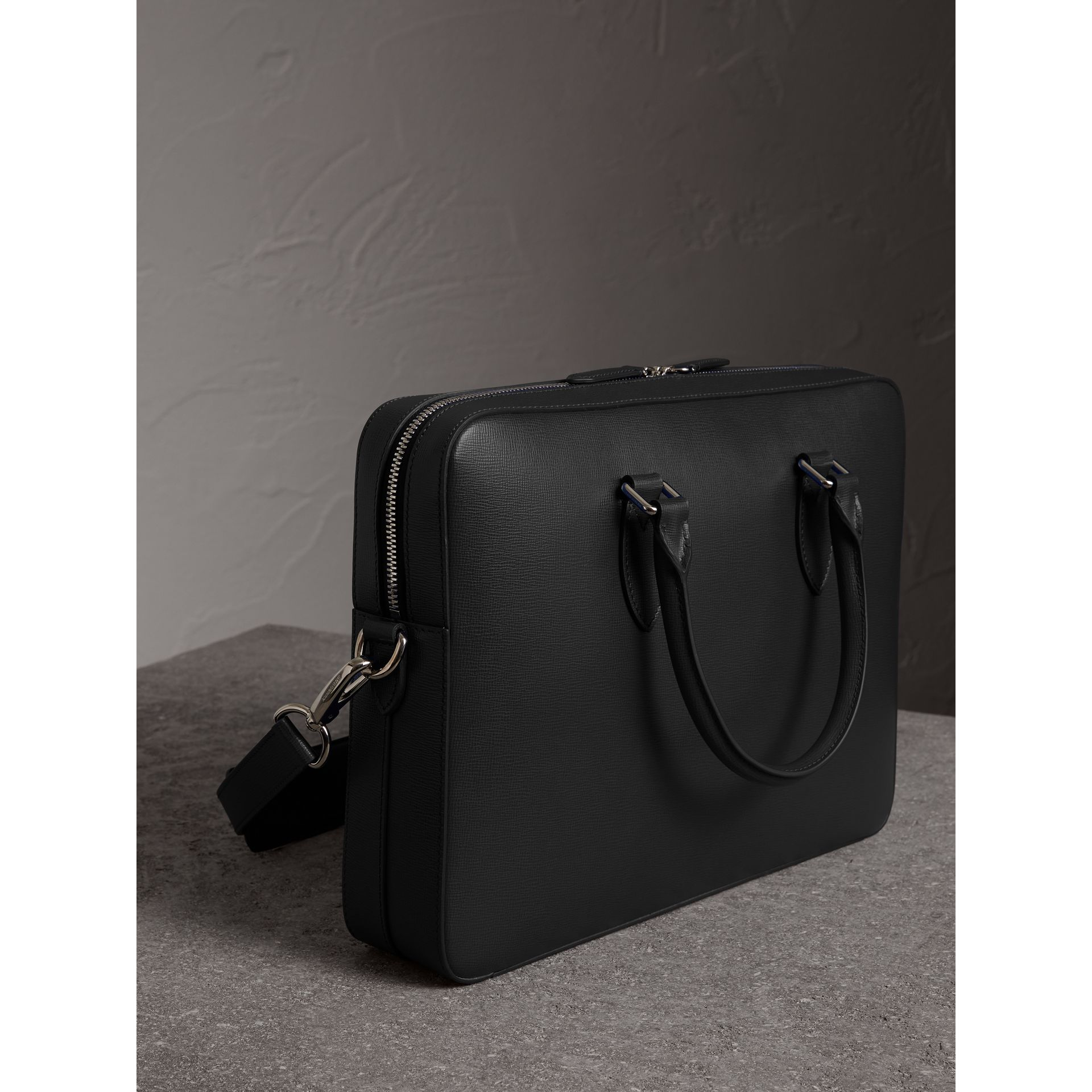 London Leather Briefcase in Black - Men | Burberry United Kingdom - gallery image 3