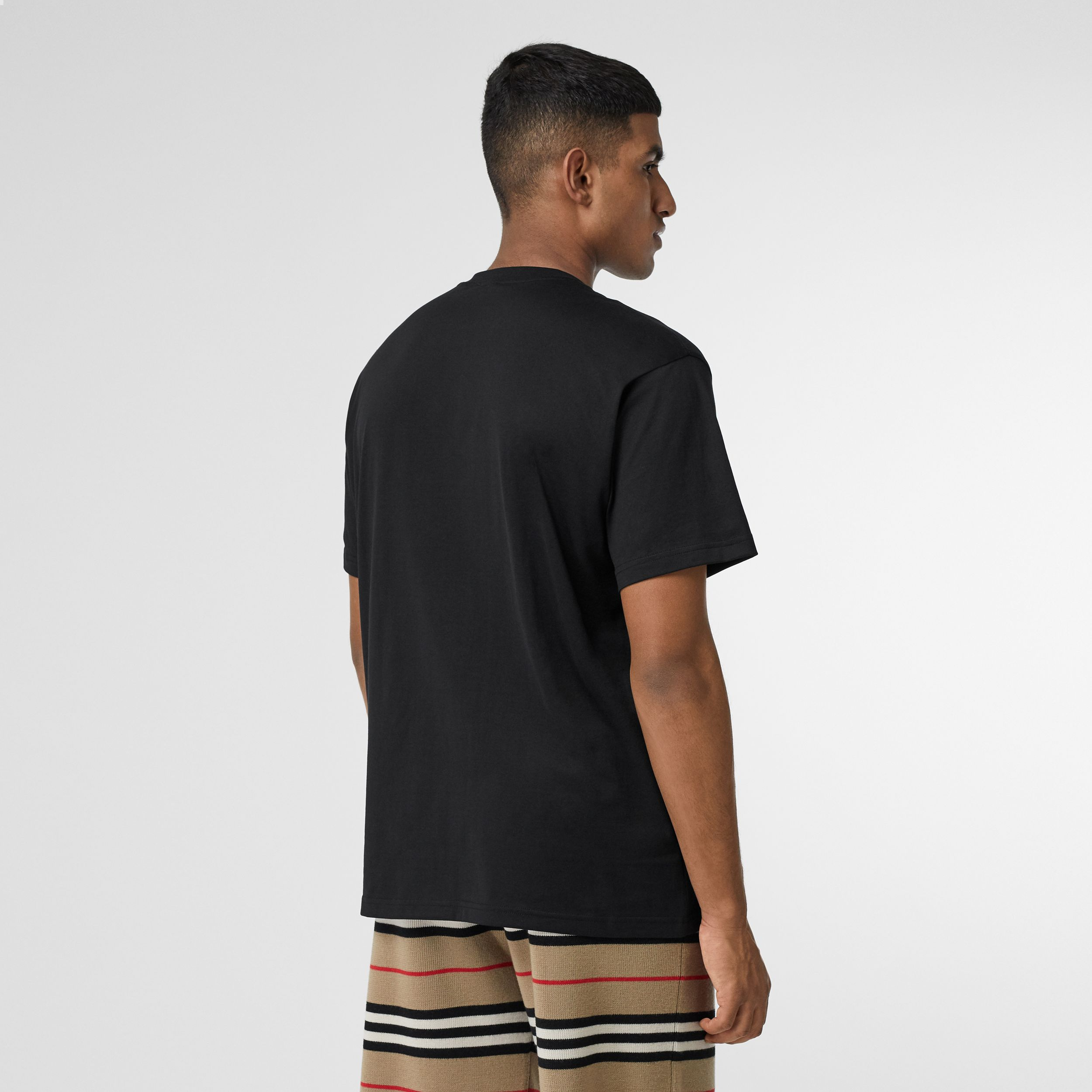 Monogram Motif Cotton Oversized T-shirt in Black - Men | Burberry Hong Kong S.A.R. - 3