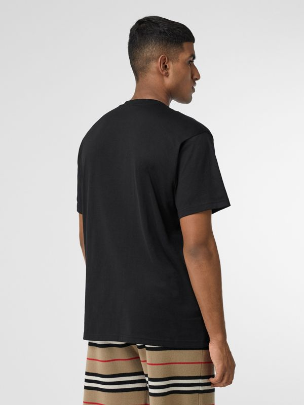 Monogram Motif Cotton Oversized T-shirt in Black - Men | Burberry Canada - cell image 2