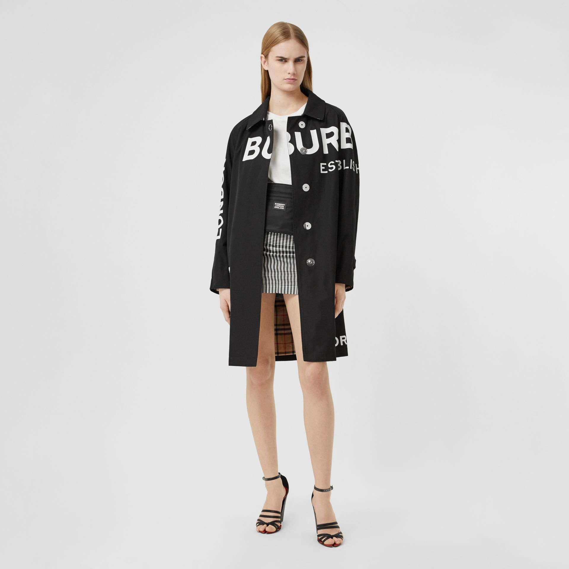 Horseferry Print Cotton Gabardine Car Coat in Black - Women | Burberry Hong Kong S.A.R. - gallery image 0