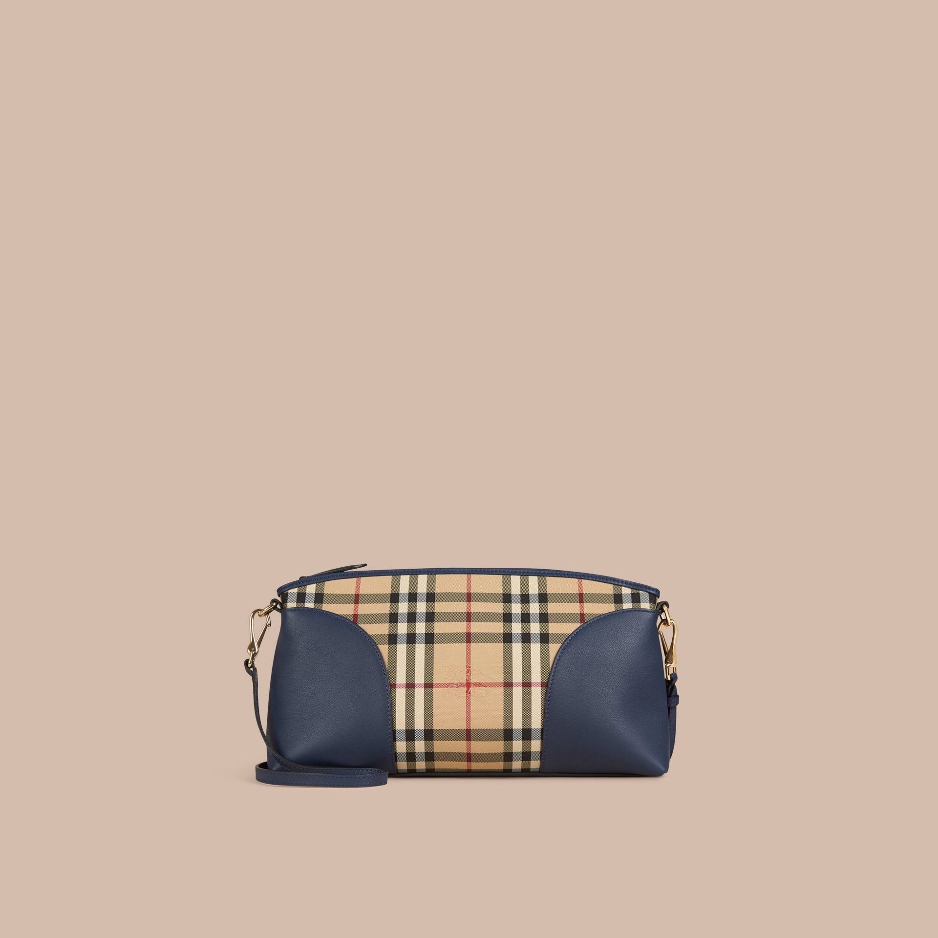 Honey/brilliant navy Horseferry Check and Leather Clutch Bag Honey/brilliant Navy - gallery image 7