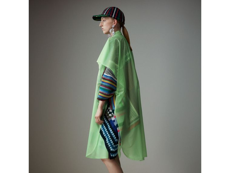 Soft-touch Plastic Poncho in Mint Green - Women | Burberry - cell image 4