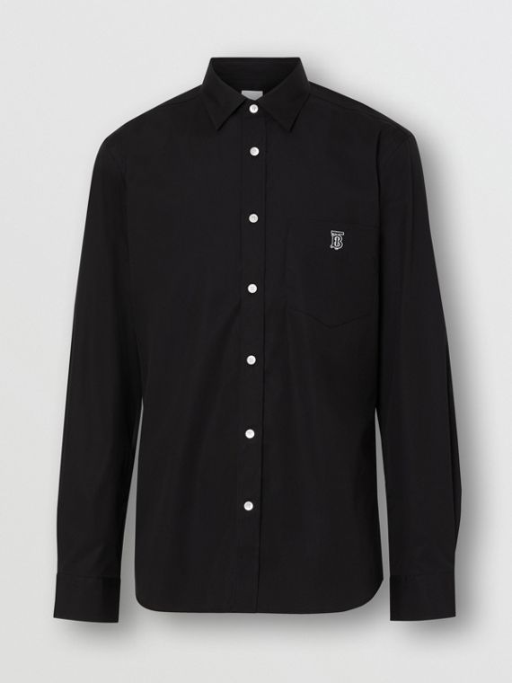 Monogram Motif Stretch Cotton Poplin Shirt in Black