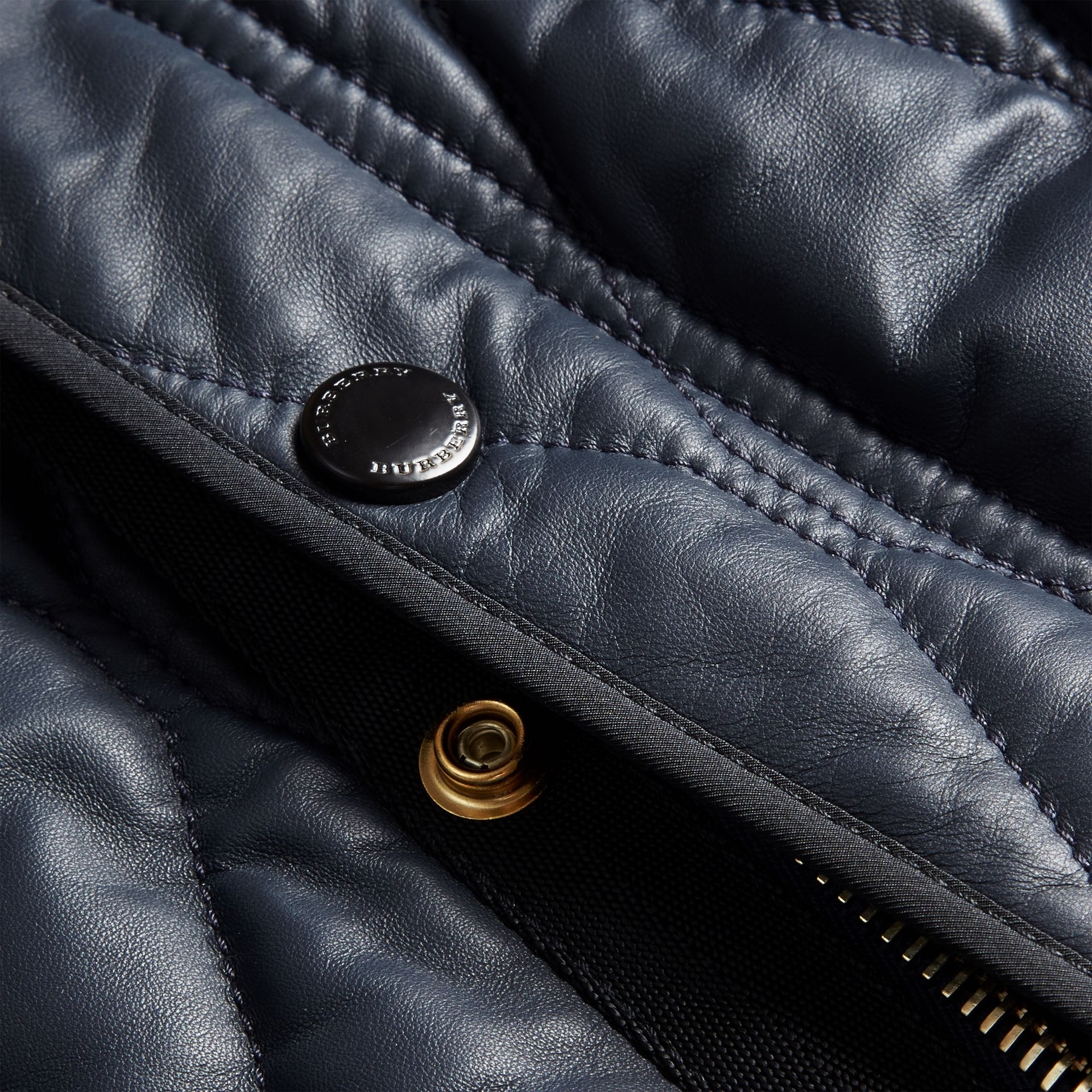 Navy Quilted Lambskin Jacket - gallery image 2