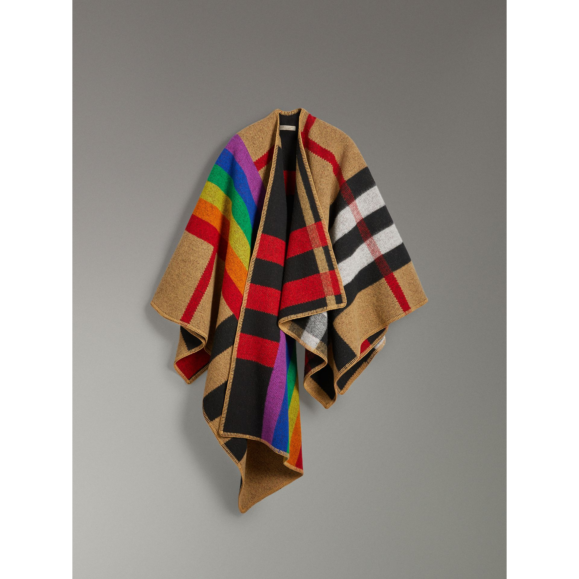 Rainbow Vintage Check Wool Cashmere Poncho in Antique Yellow/rainbow - Women | Burberry Canada - gallery image 3