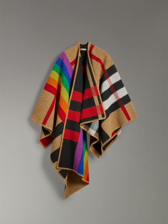 Rainbow Vintage Check Wool Cashmere Poncho in Antique Yellow/rainbow - Women | Burberry Australia - cell image 3