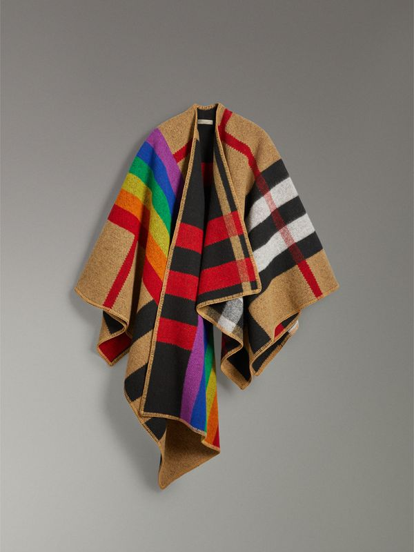 Rainbow Vintage Check Wool Cashmere Poncho in Antique Yellow/rainbow - Women | Burberry Singapore - cell image 3