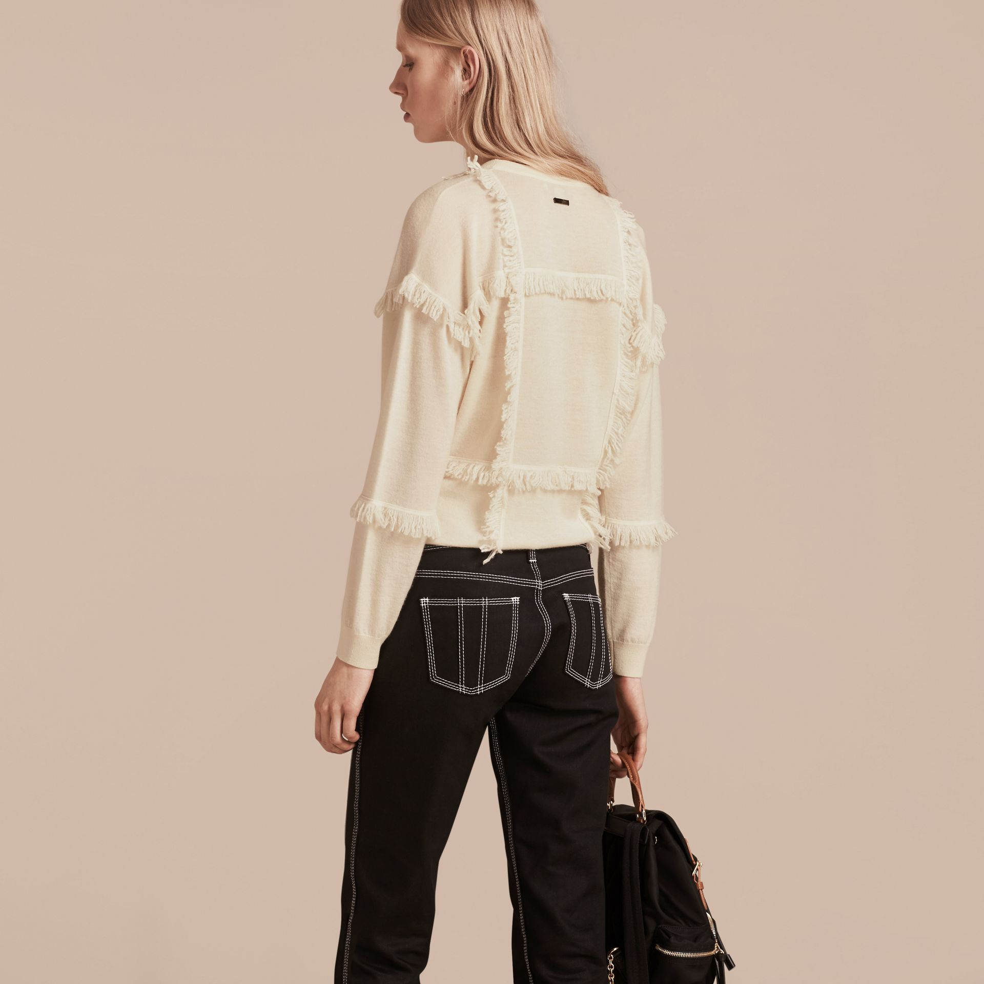 Natural white Fringed Cashmere Sweater - gallery image 3