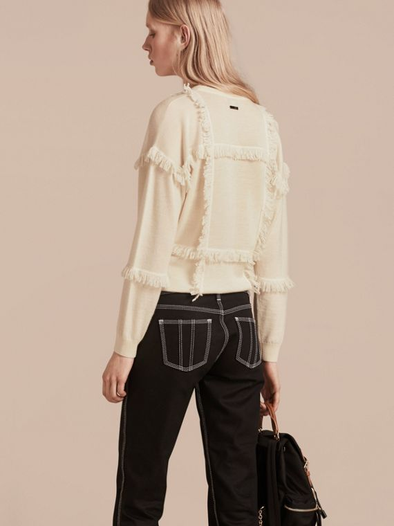 Natural white Fringed Cashmere Sweater - cell image 2