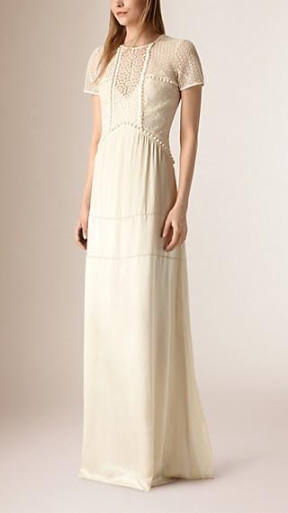 Floor-Length Silk and Italian Lace Dress