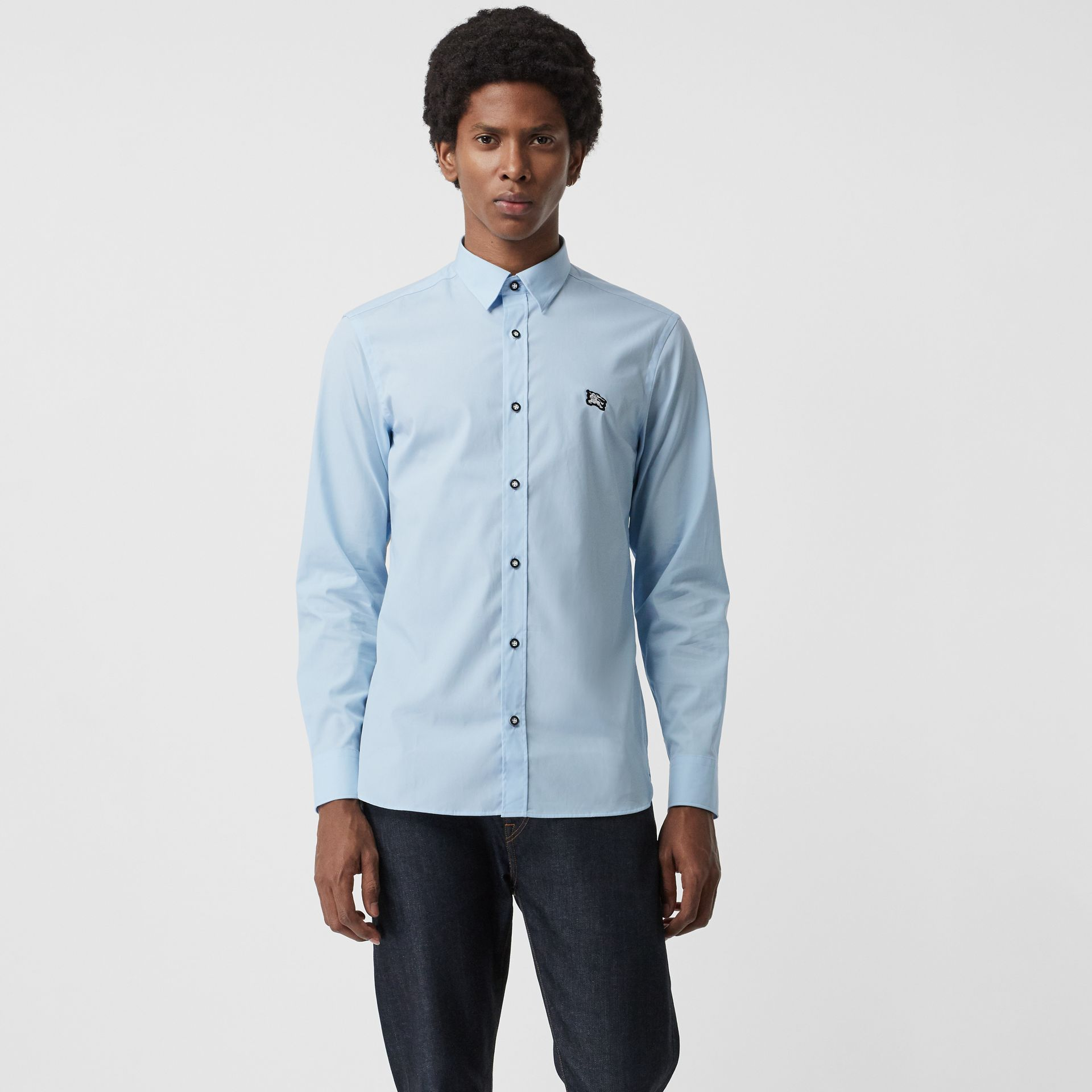 Contrast Button Stretch Cotton Shirt in Pale Blue - Men | Burberry United Kingdom - gallery image 0