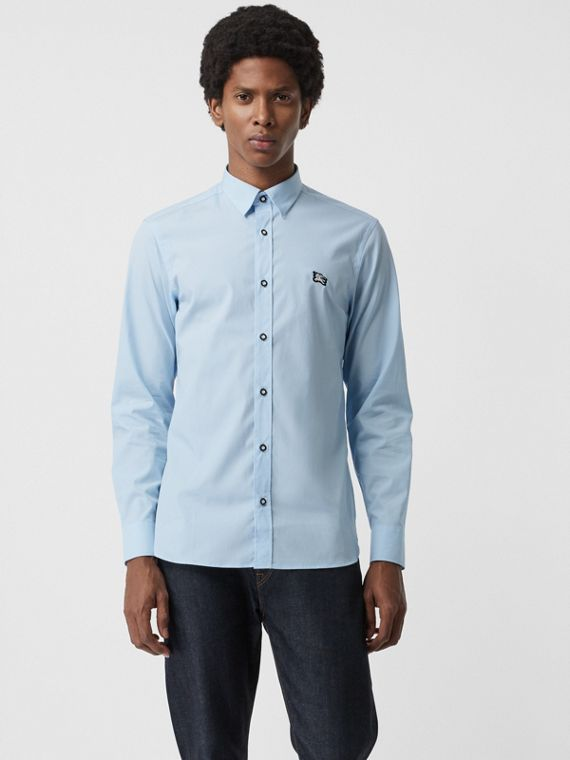 Contrast Button Stretch Cotton Shirt in Pale Blue