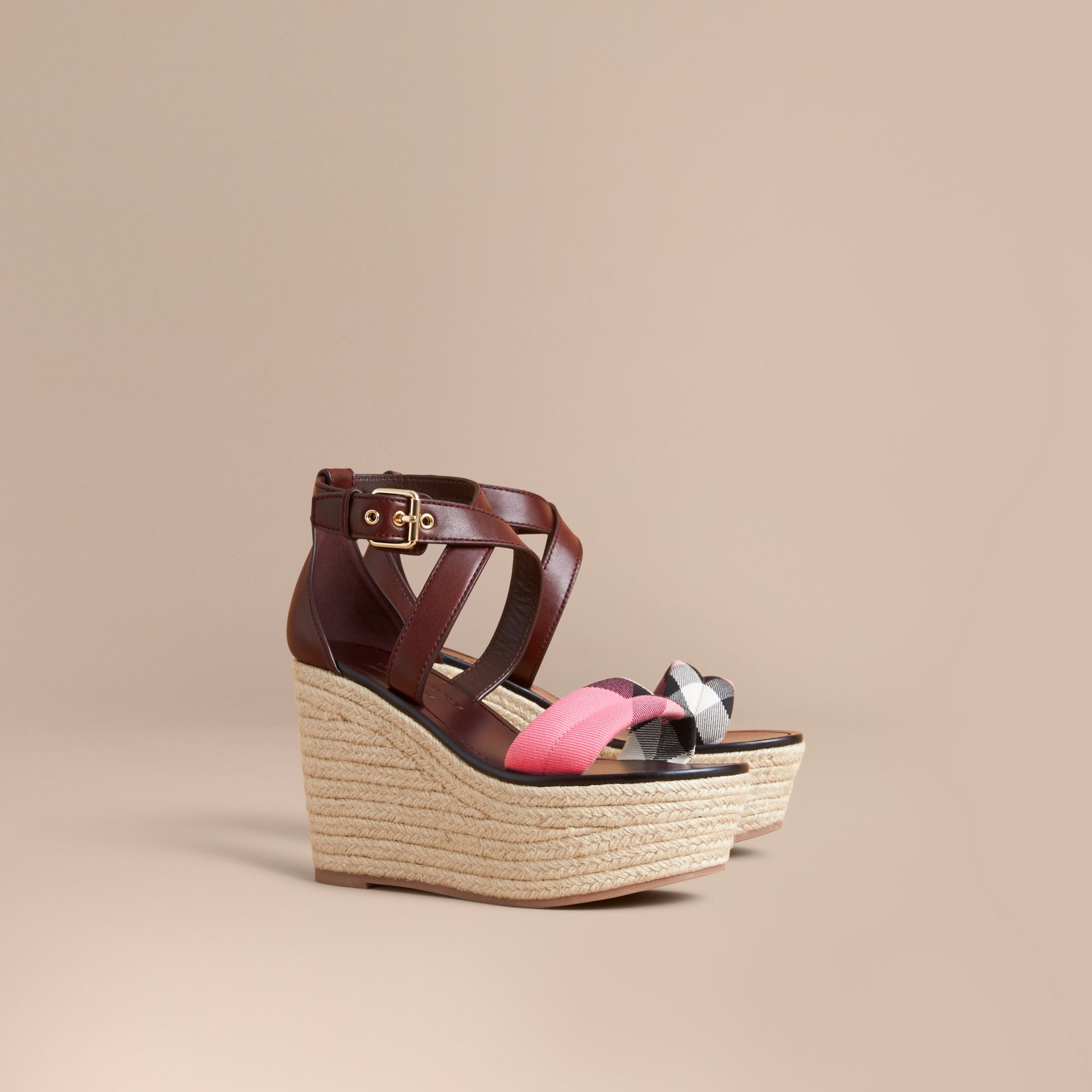 Leather and House Check Platform Espadrille Wedge Sandals in Cerise Purple - gallery image 1