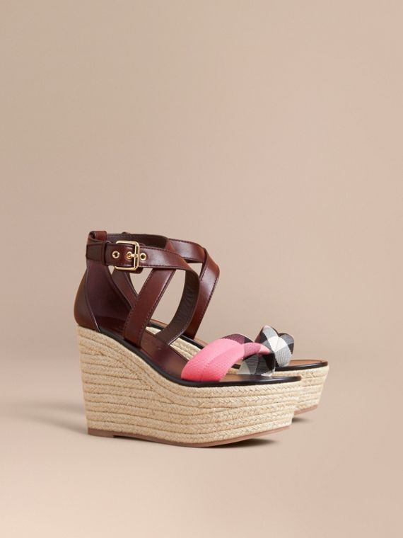 Leather and House Check Platform Espadrille Wedge Sandals in Cerise Purple