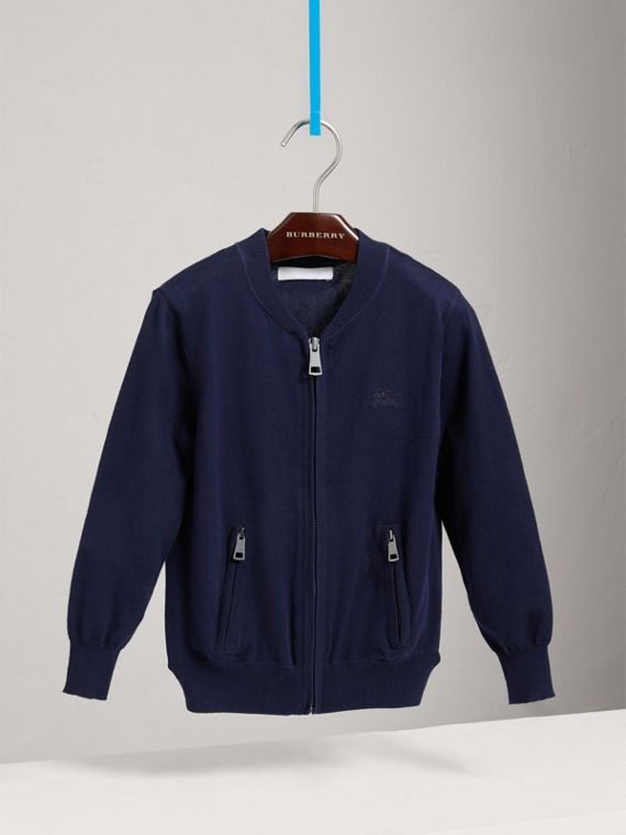 Check Elbow Patch Bomber Cardigan in Navy - Boy | Burberry United Kingdom - cell image 2