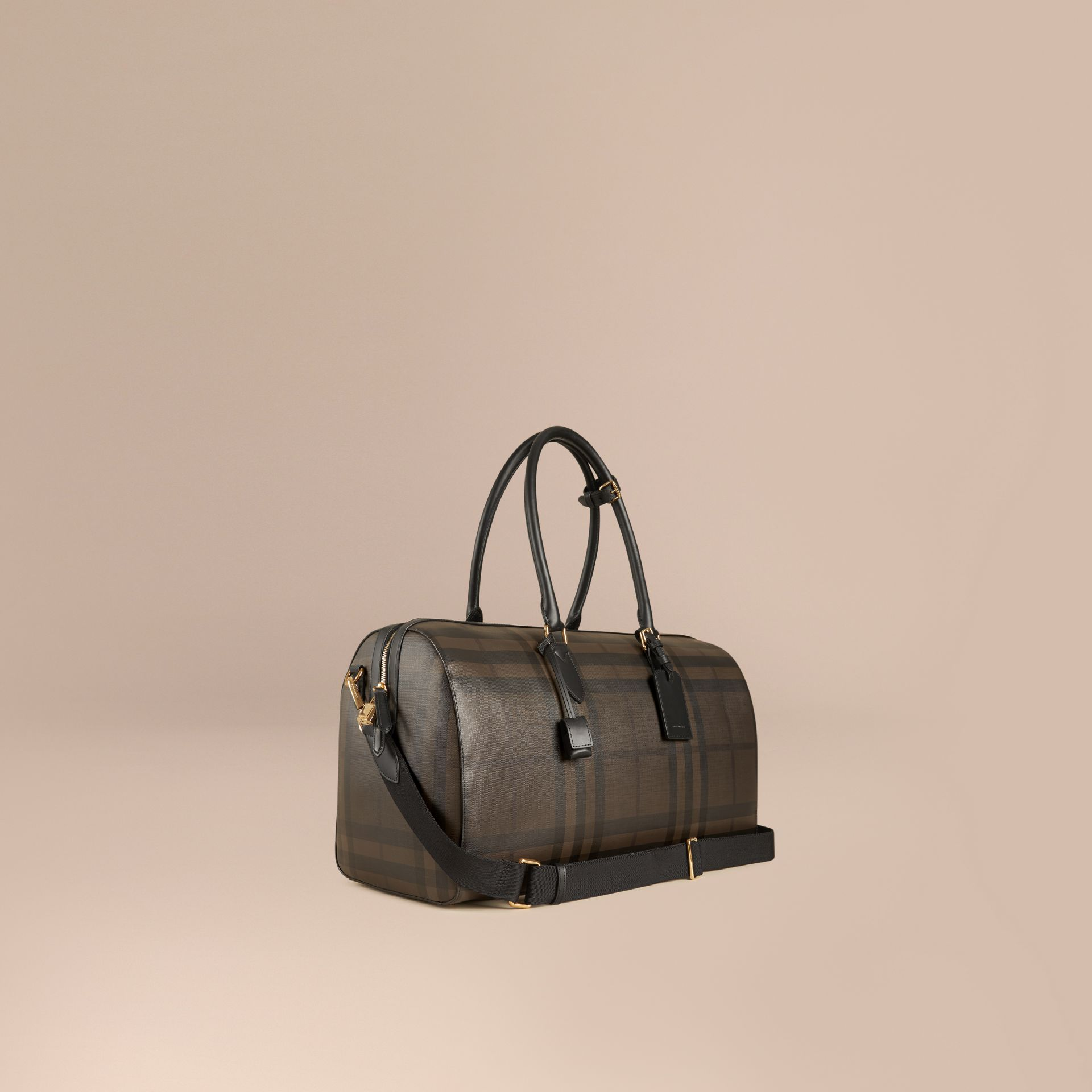 Leather Trim London Check Holdall in Chocolate/black - Men | Burberry Canada - gallery image 1
