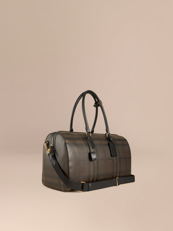 Leather Trim London Check Holdall in Chocolate/black