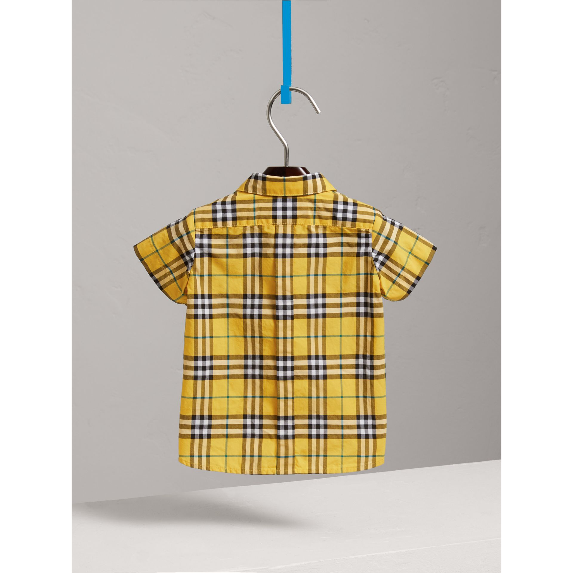 Short-sleeve Check Cotton Shirt in Bright Yellow | Burberry - gallery image 3