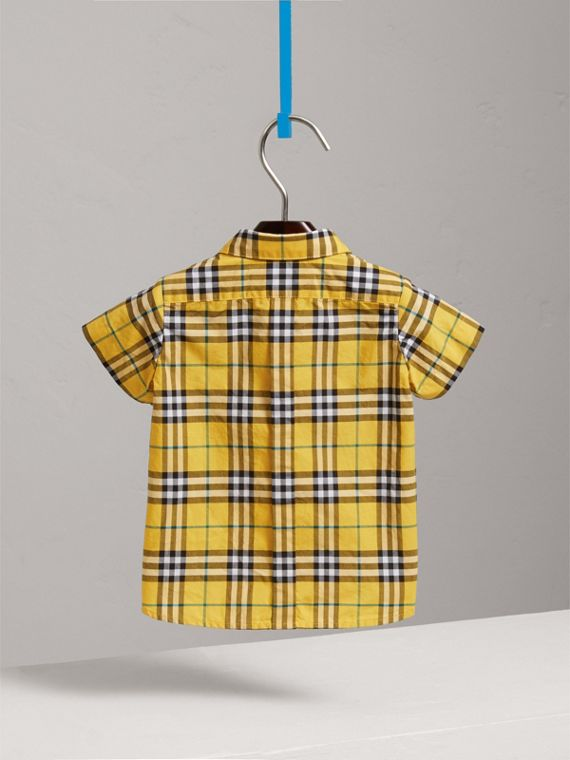 Short-sleeve Check Cotton Shirt in Bright Yellow | Burberry Australia - cell image 3