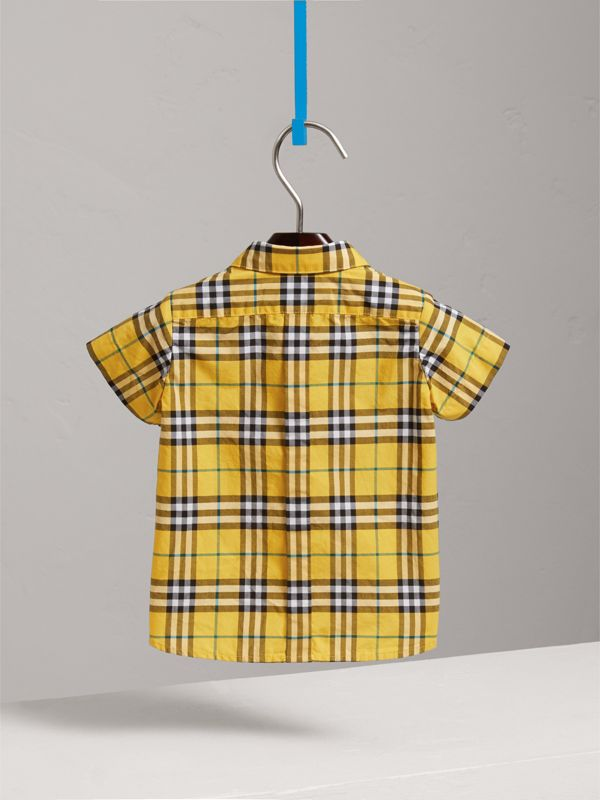 Short-sleeve Check Cotton Shirt in Bright Yellow - Children | Burberry - cell image 3