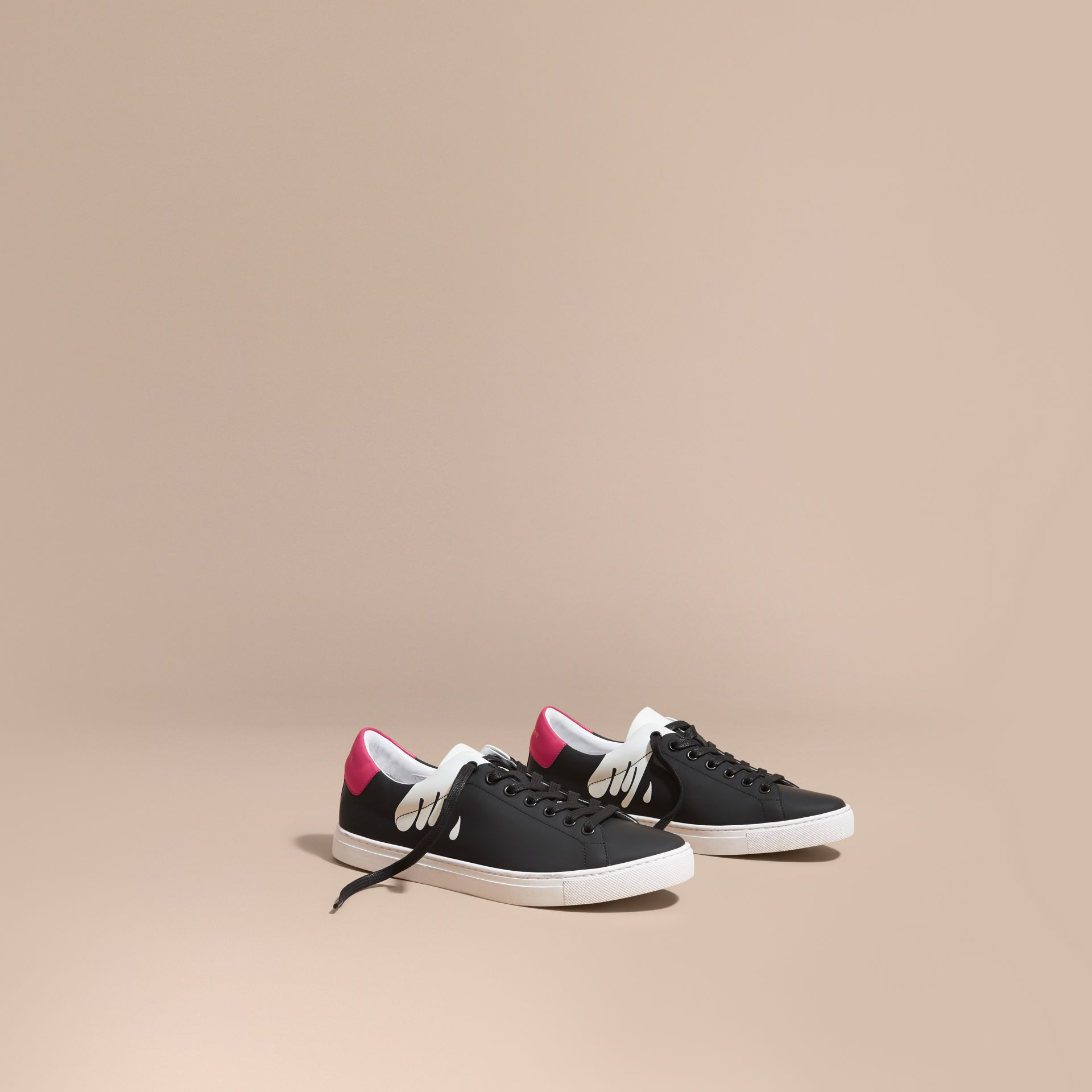 Splash Motif Leather Trainers in Black/optic White - Men | Burberry - gallery image 1