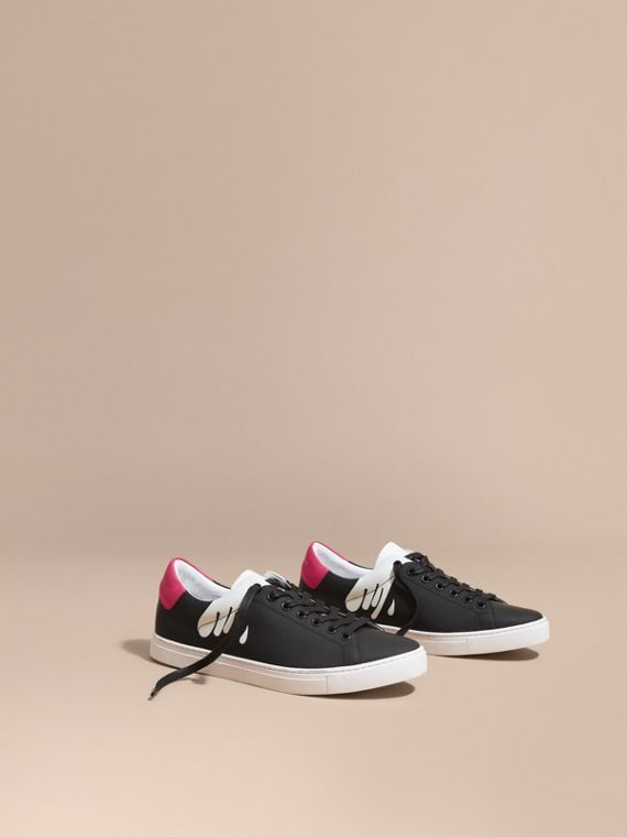 Splash Motif Leather Trainers Black/optic White