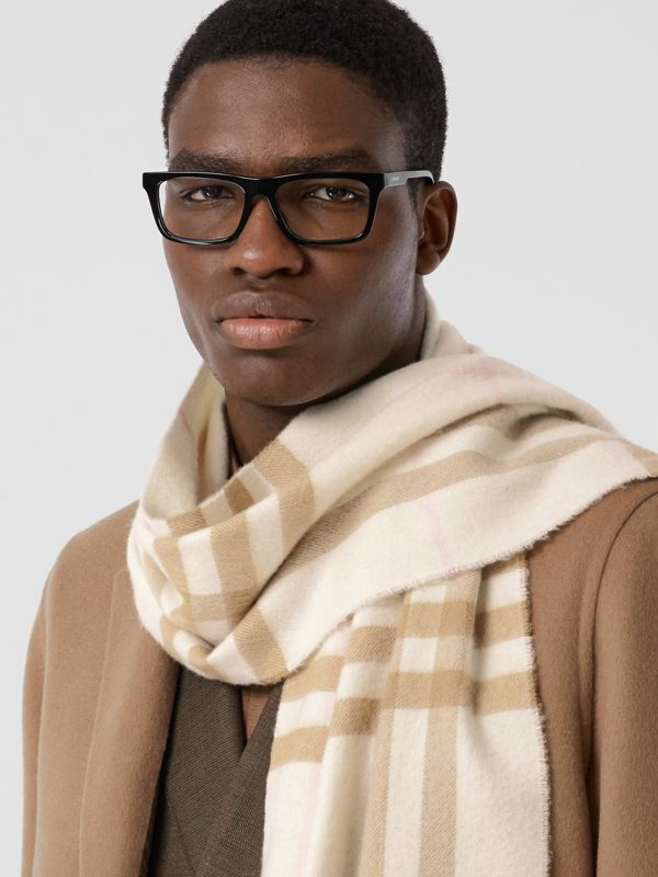 The Classic Check Cashmere Scarf in White/alabaster | Burberry Australia - cell image 3