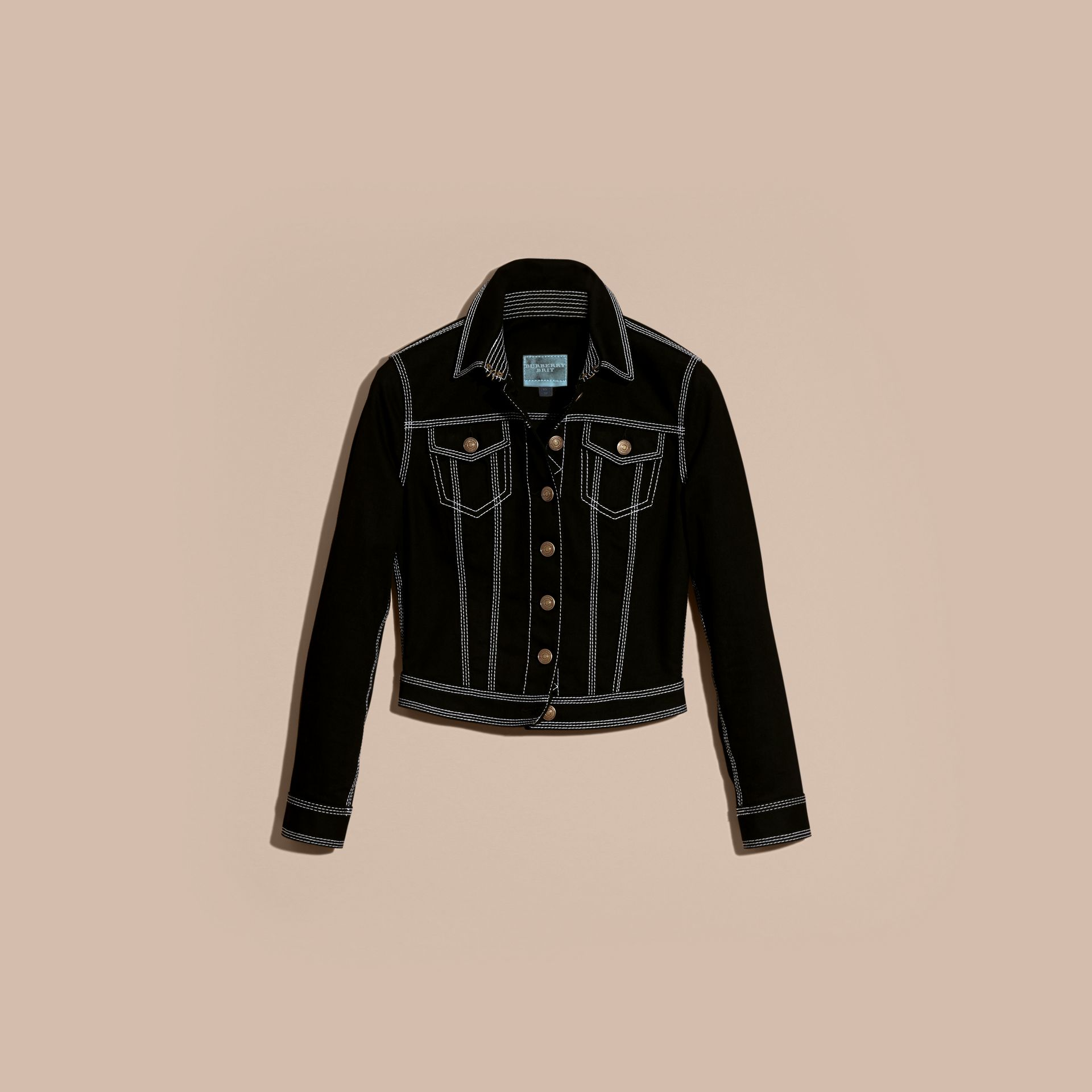Black Stitch Detail Stretch Denim Jacket - gallery image 4