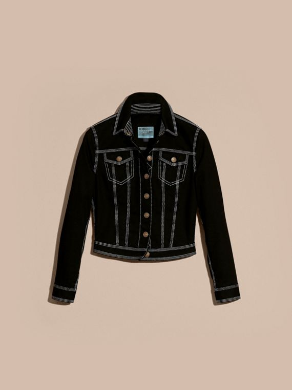 Black Stitch Detail Stretch Denim Jacket - cell image 3
