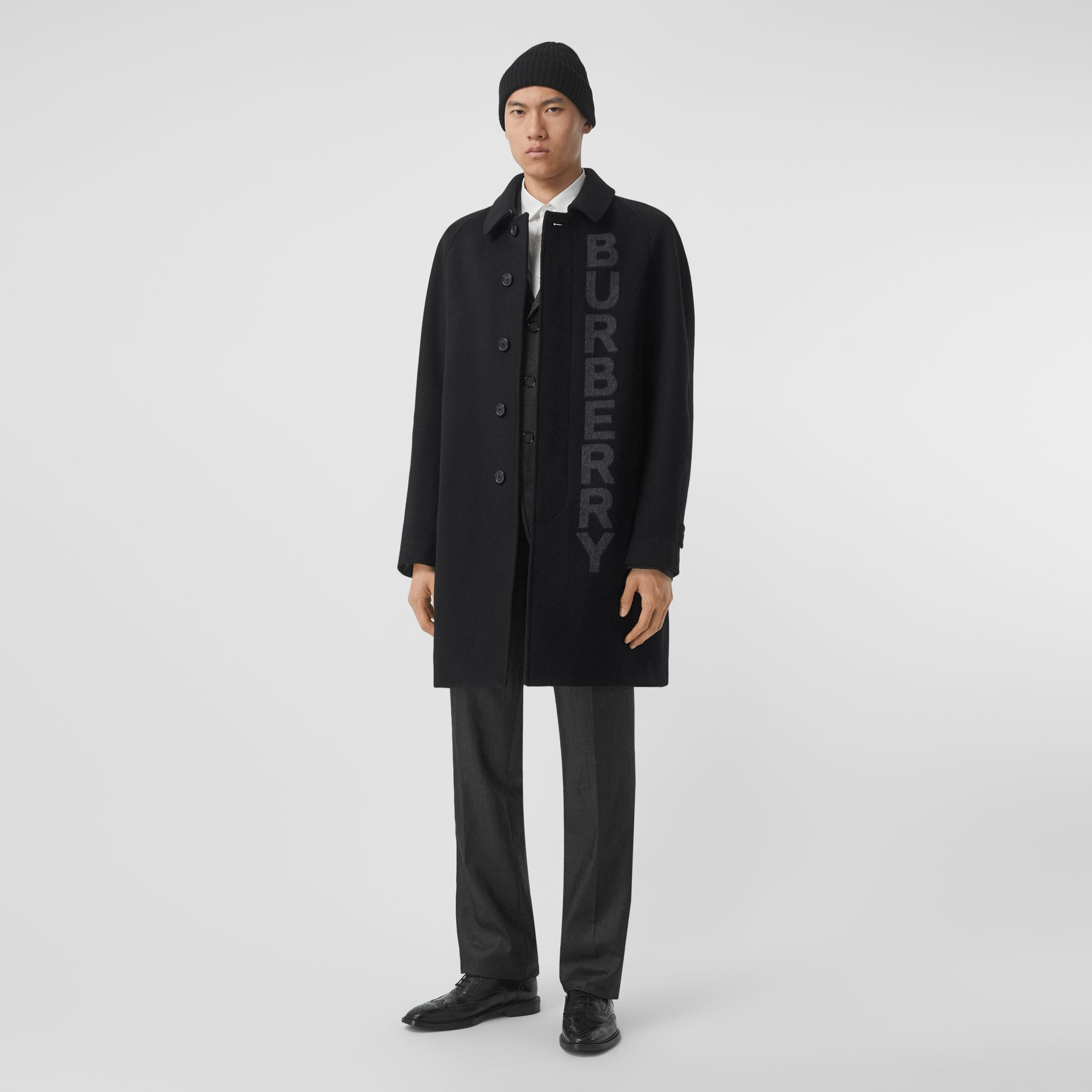 Logo Wool Cashmere Jacquard Car Coat in Black - Men | Burberry - gallery image 0