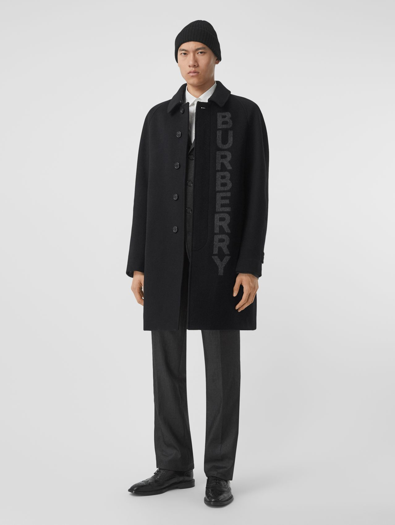 Logo Wool Cashmere Jacquard Car Coat in Black