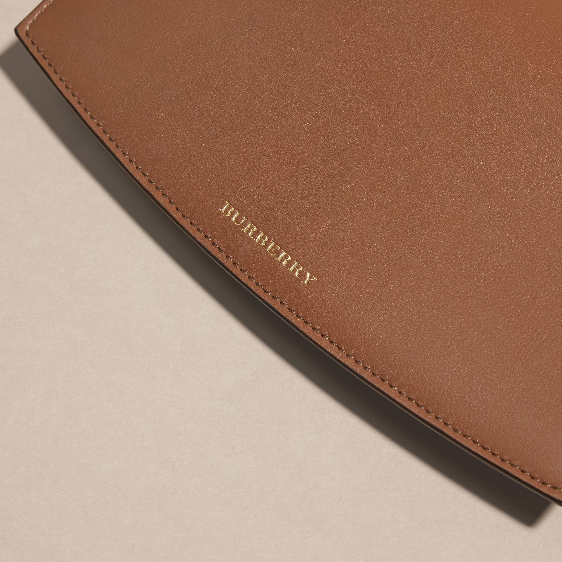 Horseferry Check and Leather Wallet with Chain in Tan - Women | Burberry - gallery image 2