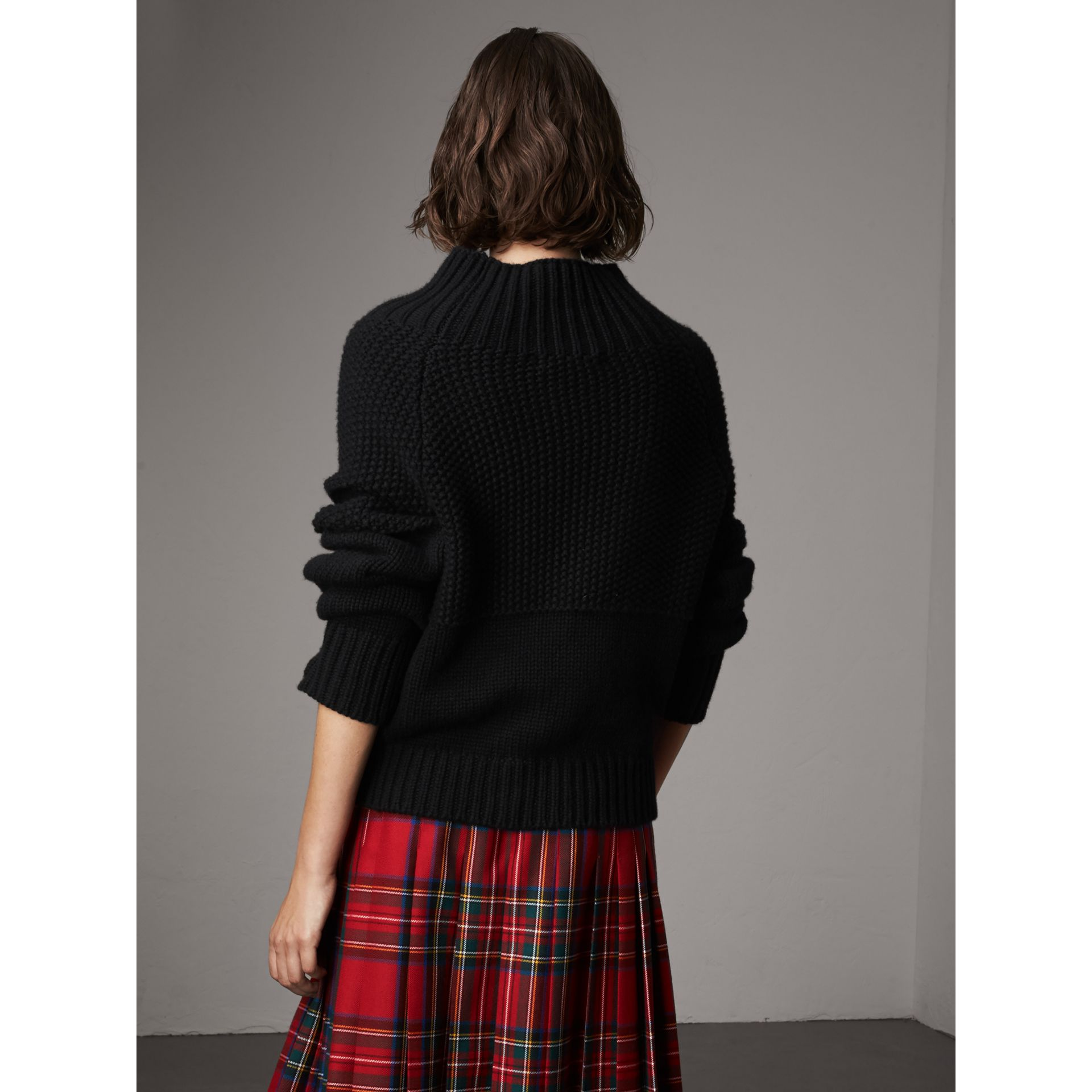 Cashmere Roll-neck Sweater in Black - Women | Burberry - gallery image 3
