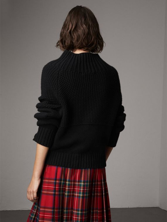Cashmere Roll-neck Sweater in Black - Women | Burberry Singapore - cell image 2