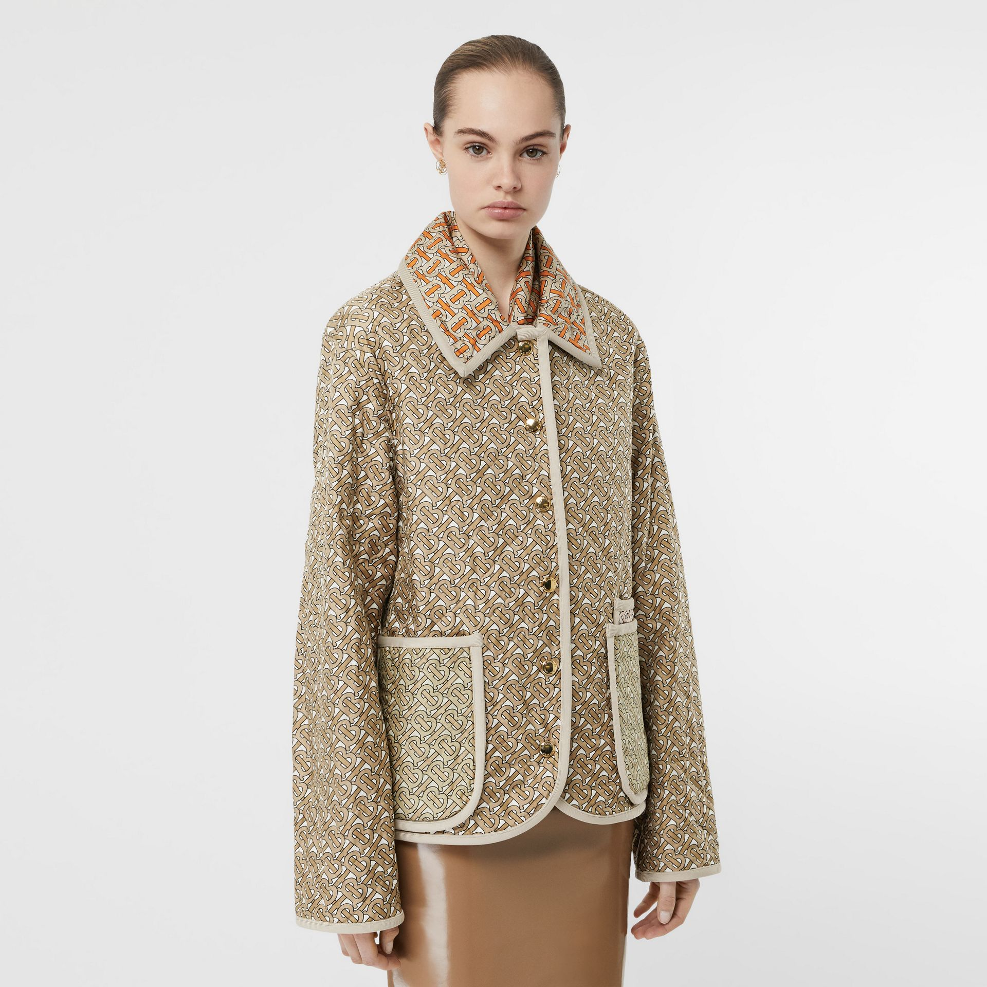 Monogram Print Quilted Silk Jacket in Archive Beige - Women | Burberry - gallery image 0