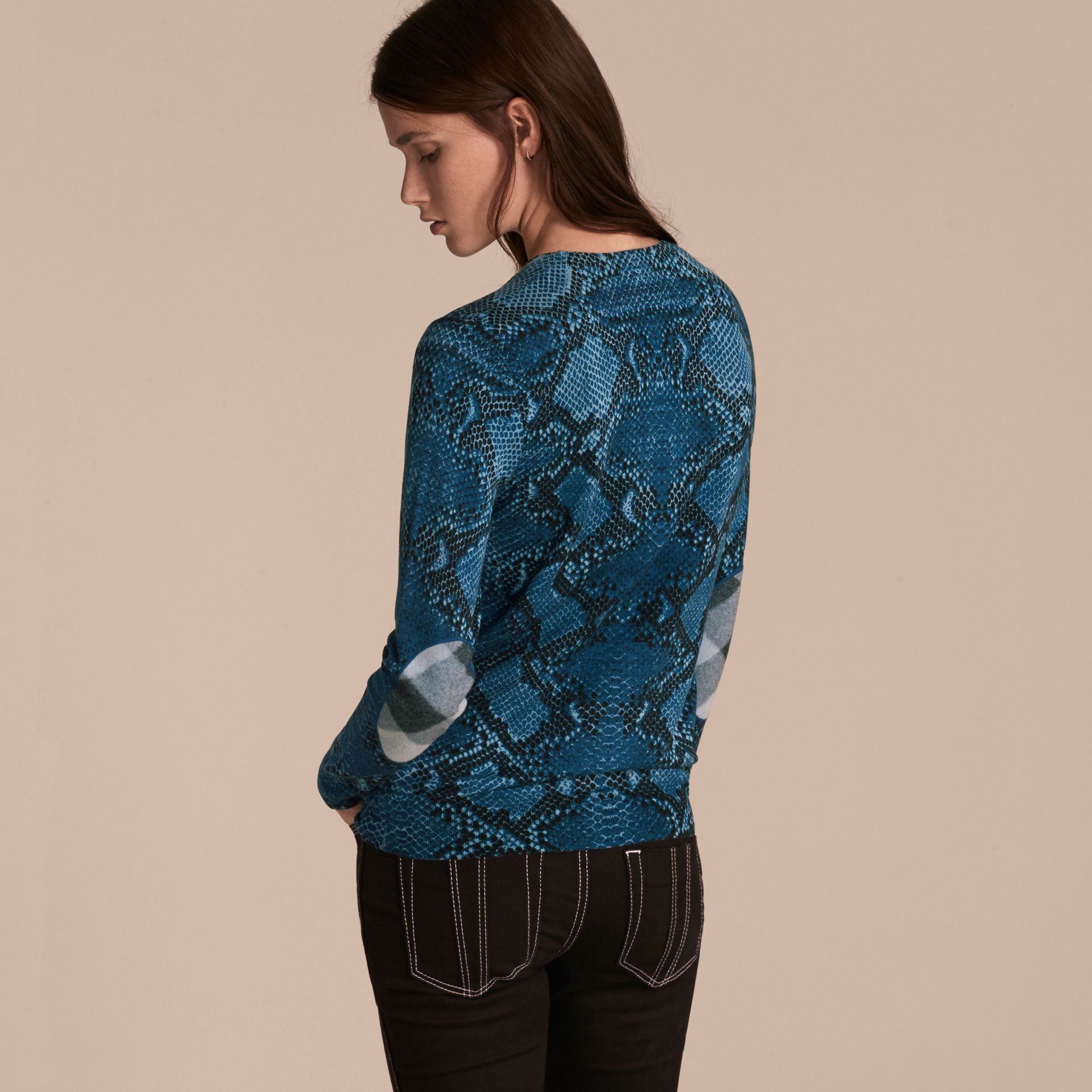 Mineral blue Check Detail Python Print Merino Wool Sweater Mineral Blue - gallery image 3