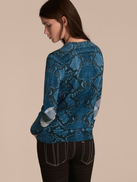Mineral blue Check Detail Python Print Merino Wool Sweater Mineral Blue - cell image 2