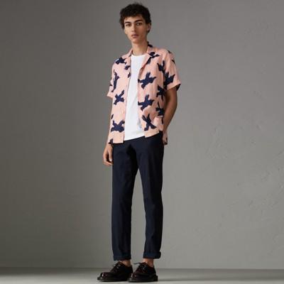 Short Sleeve Bird Print Linen Shirt by Burberry